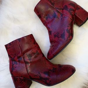 UO brand red snakeskin boots